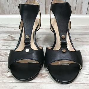 Karl Lagerfeld Black Sandal Wedges gold Detail